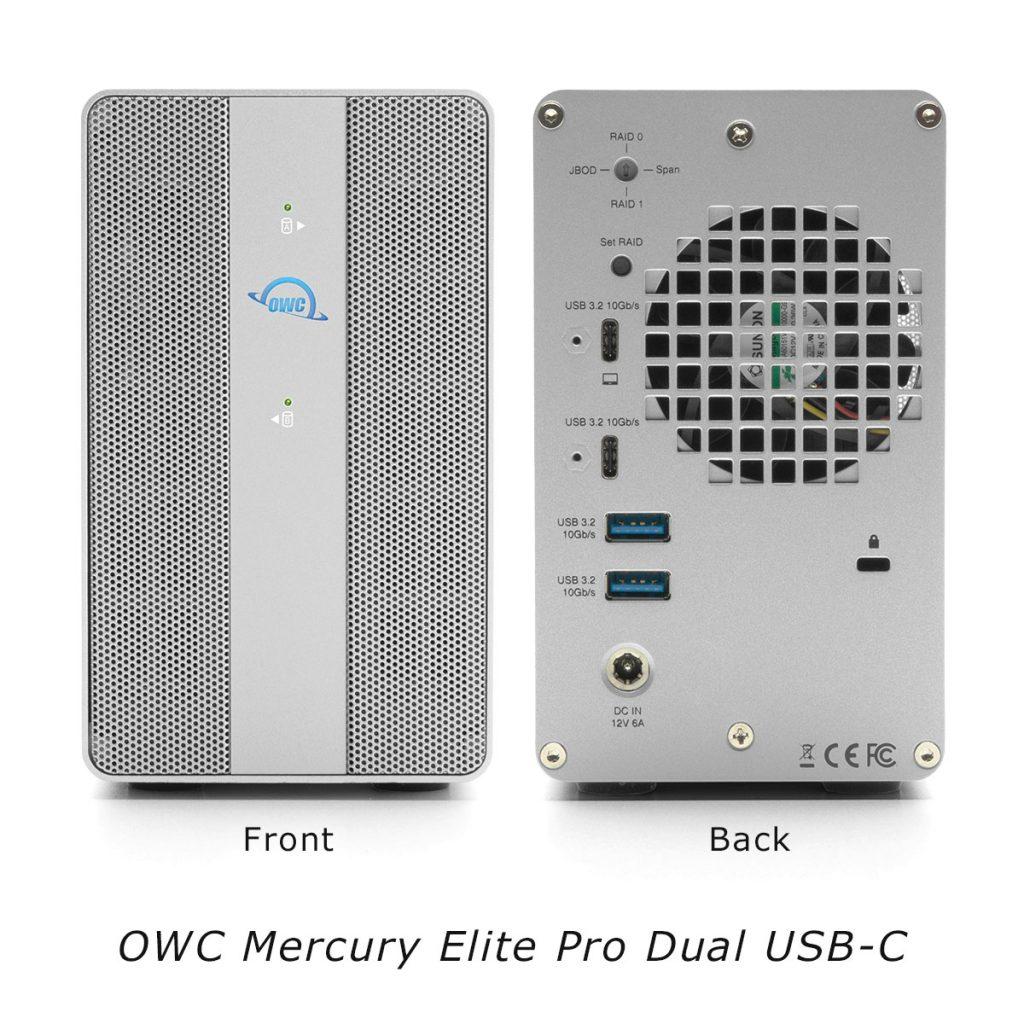 OWC Mercury Elite Pro Dual USB-C front/back